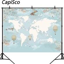 Capisco World Map Backdrop Airplane Travel Kids Children Birthday Party Baby Shower Photography Background Photo Studio Props