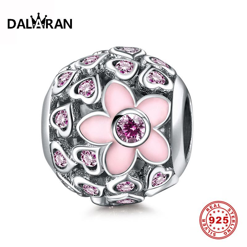 DALARAN 925 Sterling Silver Pink Heart Love Magnolia Beads For Jewelry Making Charms Fit Bracelets & Bangles Fine Jewelry