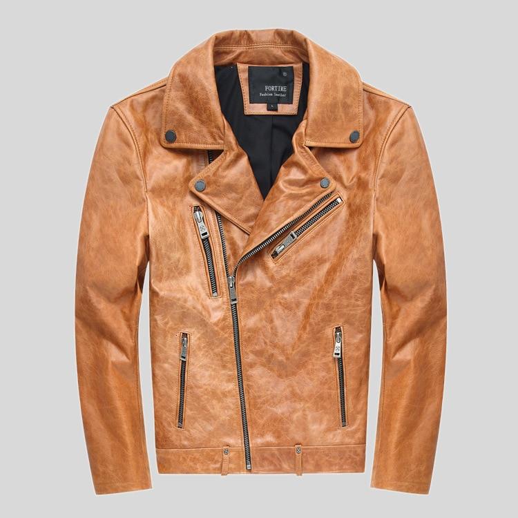 FORTIME 2020 Men Vintage Khaki Genuine Leather Jacket Fashion Lapel Cowhide Short Motorcycle Jackets Winter Coats M-4XL