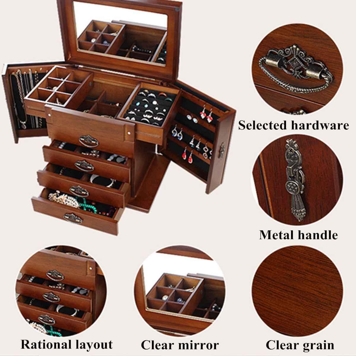 Flemish wood trinket box jewelry display necklace rings