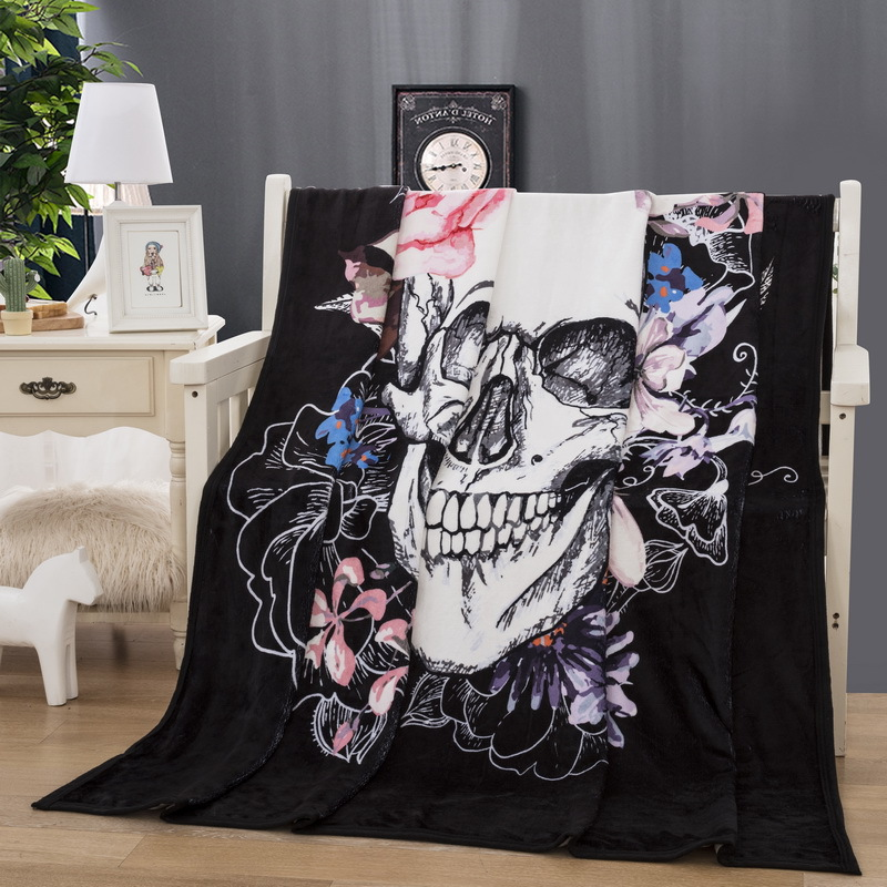 Winter 3D Nap Blanket Bedspread on the Bed Super Soft Cozy Velvet Plush Throw Blanket Skull Modern Line Art Fleece Throw Sofa