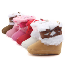 Baby Girl Boots Winter Booties Warm Plus Velvet Toddler Newborn Baby Soild Anti-slip Soft Shoes  Fleece Snow Boots Prewalker