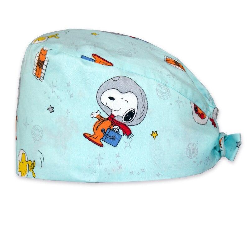 Dog Print Surgical Tieback Cap Cotton Cute Nurse Medical Work Hat For Women And Men Adjustable Medicine Hat Cheap