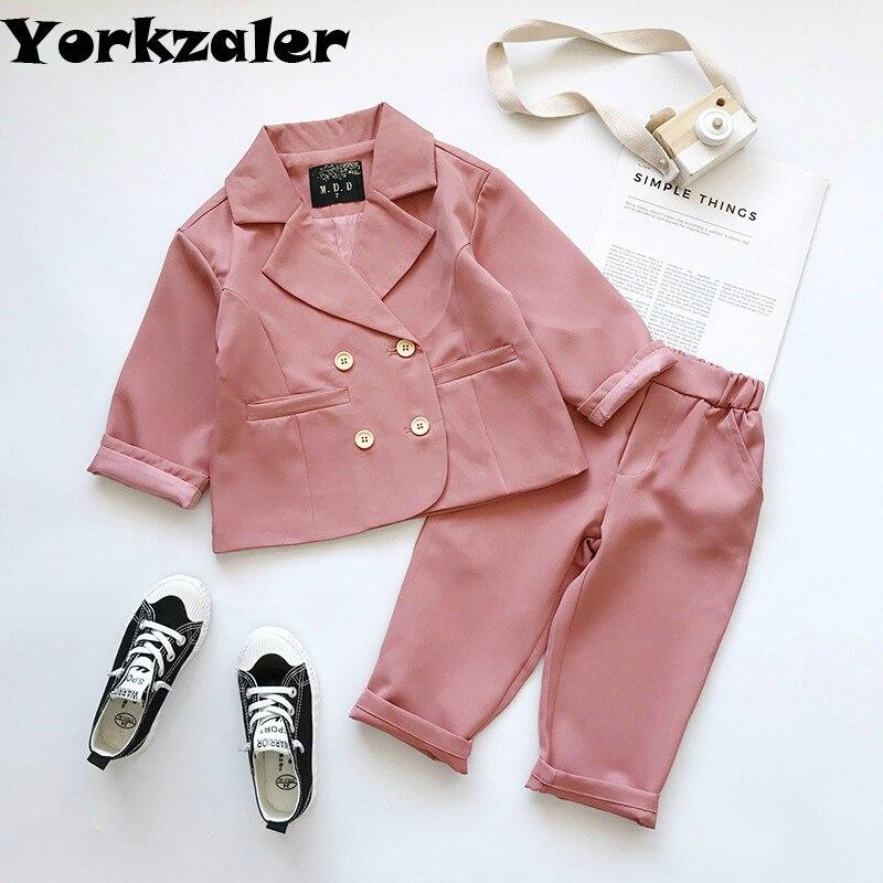 Baby Girls Clothes Suit Long Sleeve Pink Jacket & Pants 2 Pcs Children Clothes Set Toddler Clothes 2019 New Brand Children Wear
