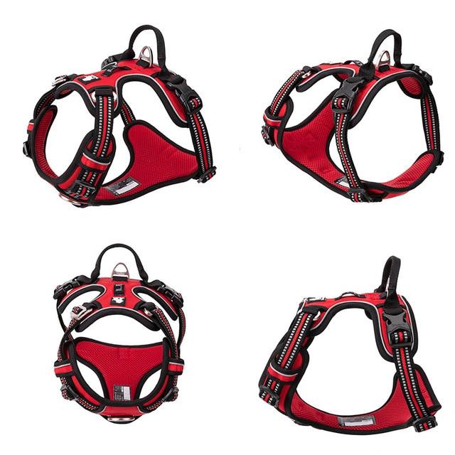 Pet Reflective Nylon Dog Harness No Pull Adjustable Medium Large Naughty Dog Vest Safety Vehicular Lead Walking Running