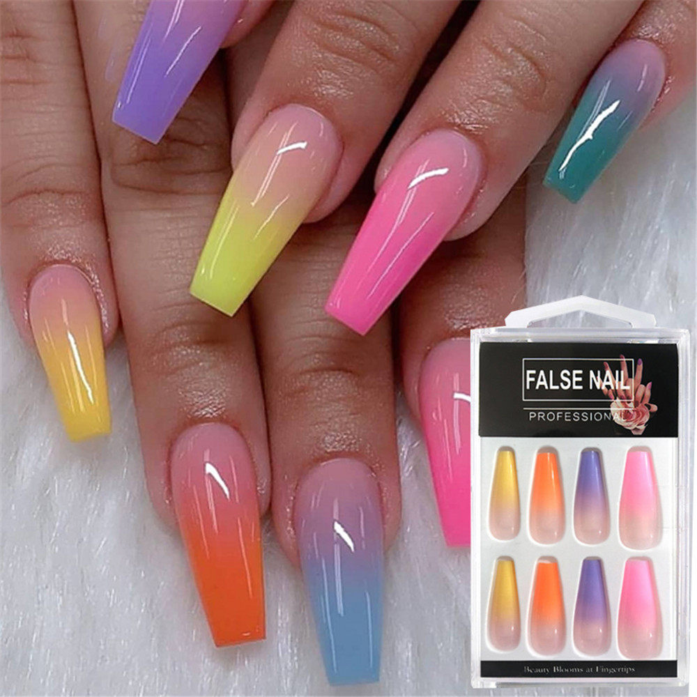 20Pcs/100Pcs Reusable False Nail Tips Set Full Cover Rainbow Matte Nail Tips With Designs Press On Nails Art Fake Extension Tips