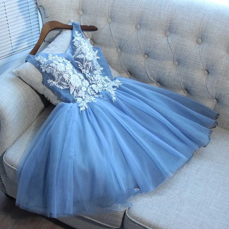 robe de soriee Hot Blue Bling   Cocktail     Dresses   Appliques Tulle Sexy Mini Party Short   Dress   V-neck Above Knee Lace up 2019 New