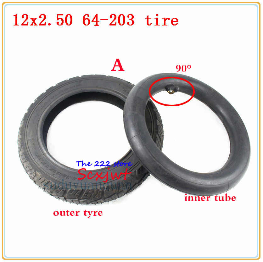 12x2,50 64-203 monopatín eléctrico tubo interior del neumático 12*2,50 Bicicleta electrónica para niños neumático de rueda de bicicleta 12 ''neumático inflable