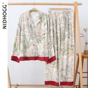 """Image 4 - Mùa Hè Cổ Bẻ Nữ Tay Dài Quần Dài Pijama Mujer """"Loungewear Sexy Nữ Pyjamas Lụa In đồ Ngủ"""