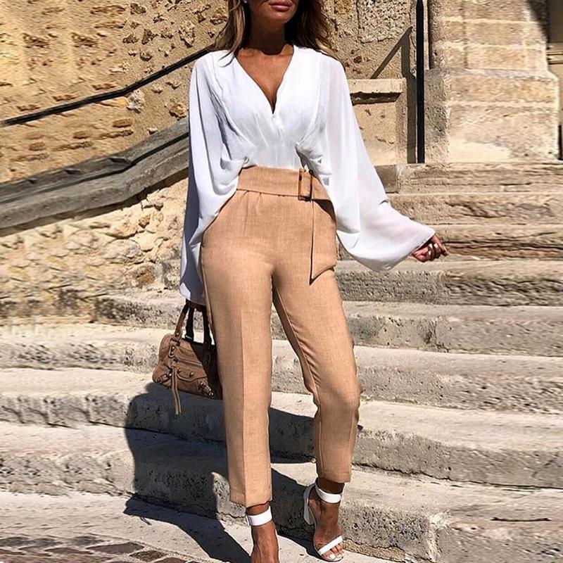 Turmeric Solid Khaki Pencil Pants 2019 Autumn Office Work Wear High Waist Belt Pants Women Casual Fitness Trousers Pants Female