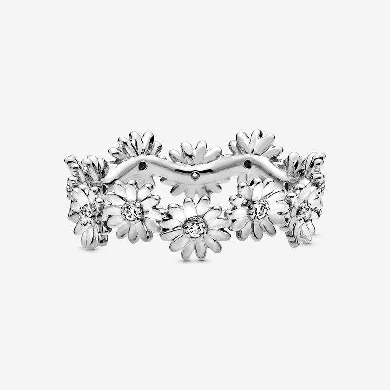 Bague en argent Sterling 2020 pour femmes, couronne de fleur de marguerite scintillante, bijou de fiançailles, printemps, 925 5