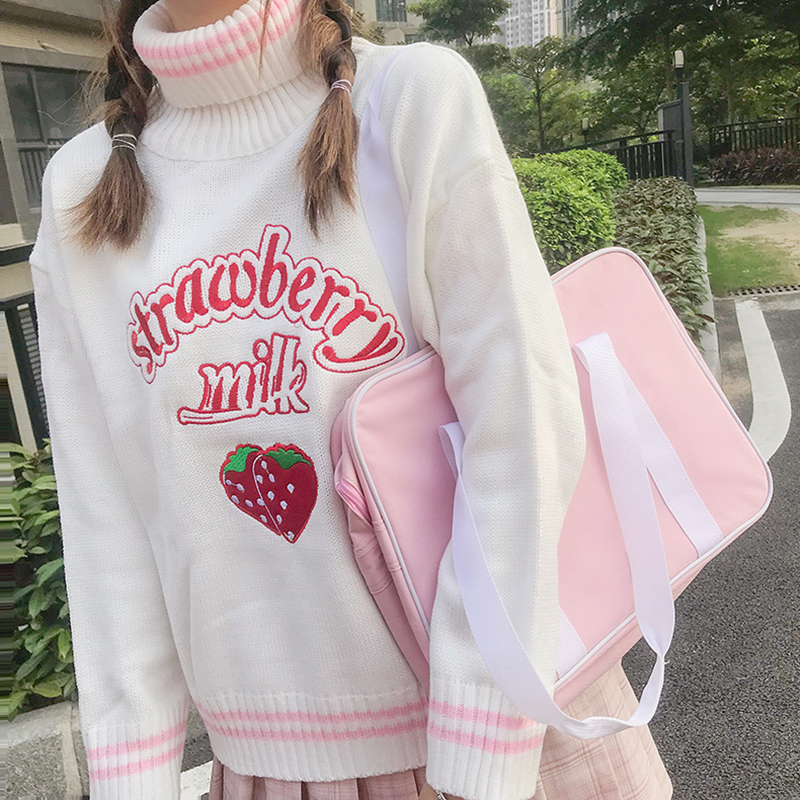 Winter Cute Women Turtleneck Sweater Harajuku Kawaii Strawberry Milk Pink Femme Pull Jumper High Neck White Knitted Sweaters