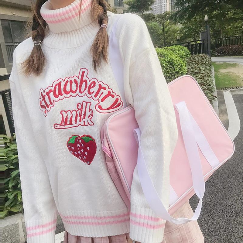 Winter Cute Women Turtleneck Sweater Harajuku Kawaii Strawberry Milk Pink Femme Pull Jumper High Neck White Knitted Sweaters