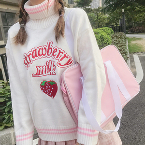 Image 1 - Winter Cute Women Turtleneck Sweater Harajuku Kawaii Strawberry Milk Pink Femme Pull Jumper High Neck White Knitted Sweaters