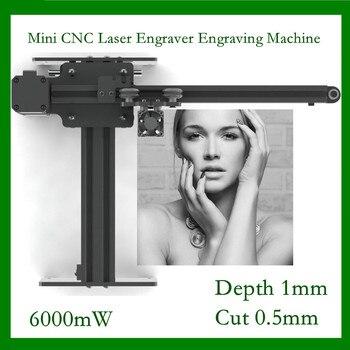 6000mw Hoge Snelheid mini CNC Laser Graveur Graveermachine voor Metaal/Hout Router/Papiersnijder/Desktop cutter