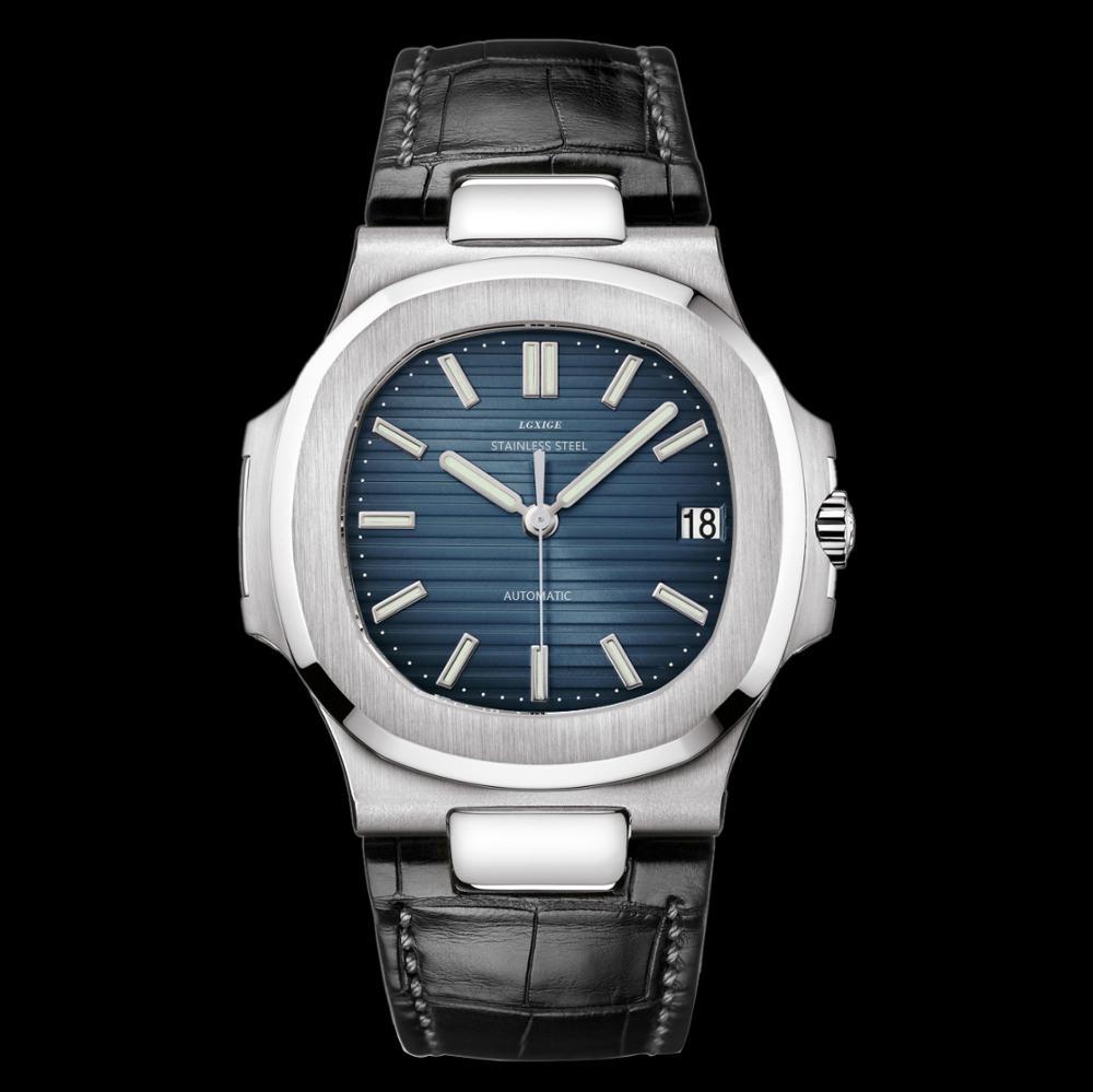 LGXIGE 本革腕時計メンズ pp ファッショントップブランドの高級自動機械式時計オウムガイステンレス鋼 aaa 男性腕時計