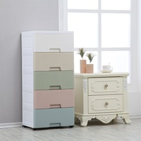 Macarons Drawer type Storage Cabinets Plastic Multilayer Selectable Five Tier Large Size Organizing Combination Storage Box