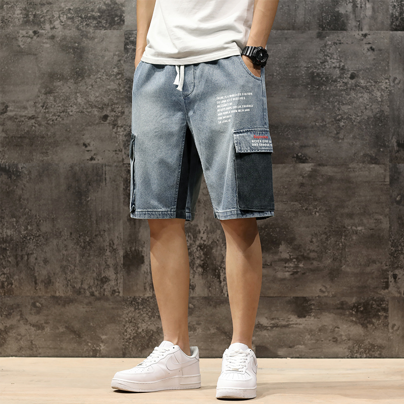 Men Denim Shorts 2020 Streetwear Elastic Waist Breeches Bermuda Male Big Pocket Casual Half Jean Summer Fashion Cargo Shorts Men