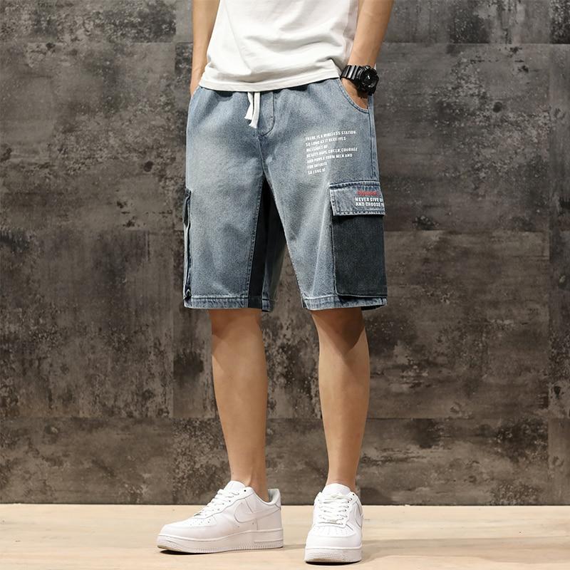 Men Denim Shorts 2020 Streetwear Elastic Waist Breeches Bermuda Male Big Pocket Casual Half Jean Summer Fashion Cargo Shorts Men