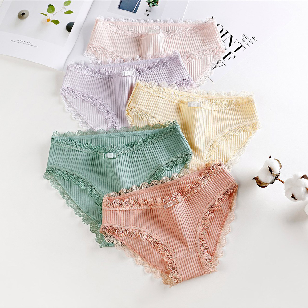 CALOFE Women Sexy Lace Panties Seamless Cotton Breathable Panty Briefs Sexy Lingerie Fashion Low Waist Solid Underwear intimates