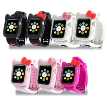 Cartoon Soft Silicone watch Strap Protective Case 2 in 1 Set for apple 42mm 38mm Watch Accessories For iwatch Series 3