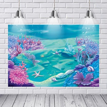 Background Photography Under Sea Party Corals Rocks Ariel Mermaid Princess Custom Photo Studio Background Backdrop Vinyl Banner