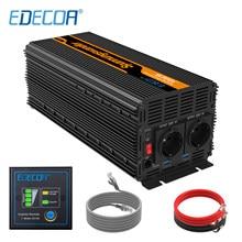 EDECOA-Inversor de corriente con pantalla LCD de control remoto, inversor de corriente continua a corriente alterna, de onda sinusoidal modificada, CC a CA, 5V, 12V, 220V, 230V, 2,1A, 3000W, 6000W