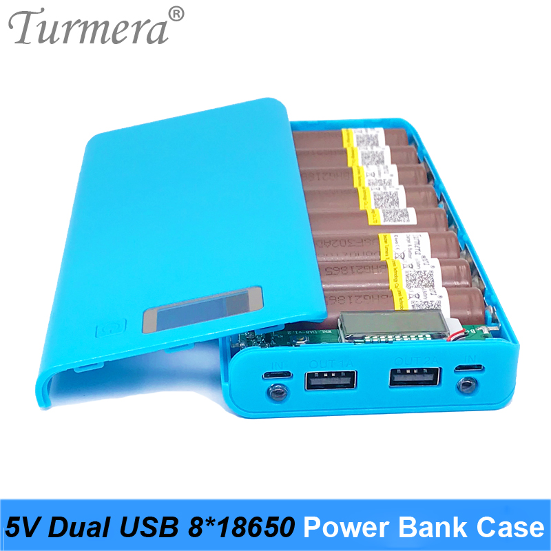 5V Dual USB 8*18650 Power Bank Battery Box Mobile Phone Charger DIY Shell Case Suggest NCR18650B HG2 18650 Battery Storage Case