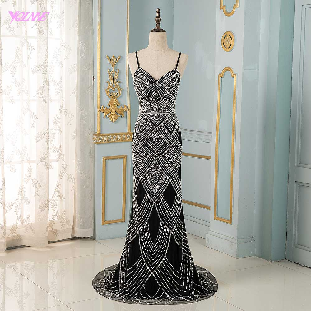 YQLNNE Robe De Soiree Sexy Black Spaghetti Evening Dresses Long Crystals Beaded Evening Gown