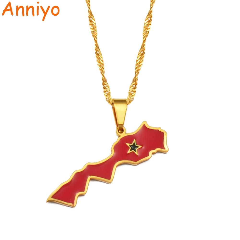 Anniyo в Соединенное Королевство Марокко карта кулон в форме флага ожерелье для женщин Золотой Цвет украшенияle Royaume du Maroc Национальный флаг #...