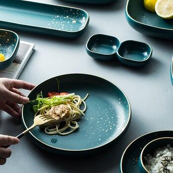 High Fashion Retro Green dinner plates set Nordic Ceramic Tableware Set Dinnerware Set Bowl Plate Soup Bowl Set Modern Style 2