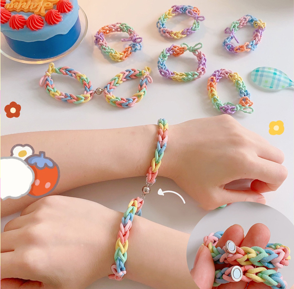 Радуга, Парные браслеты женские цветная бандана аксессуары DIY Ручная тканая резинка Dual-Применение для лучшее для друзей и пар подарки
