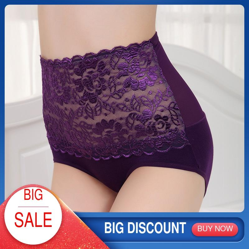 Underwear Women Panties With High Waist Women's Cotton Briefs Calcinha Female Slimming Lace Lingerie For Ladies Luxury Plus Size