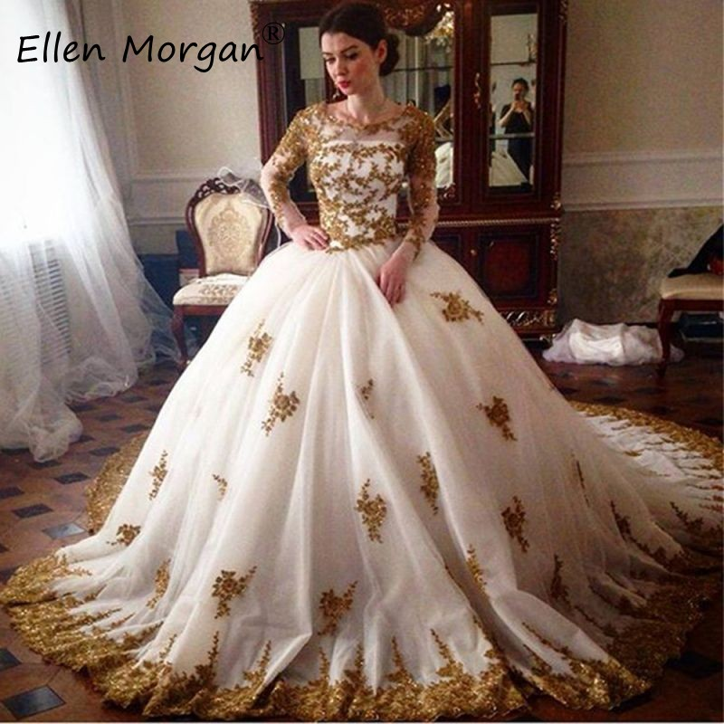 White With Gold Lace Long Sleeves Wedding Dresses For Bridal Vestidos De Novia 2020 Princess Court Train Zipper Tulle Ball Gowns