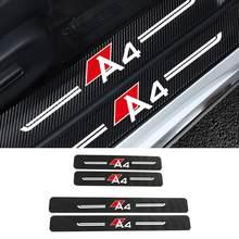 4pcs Desgaste Porta Do Carro Placa de Proteção De Fibra De Carbono Adesivo Para Audi A4 B5 B6 B7 B8 B9 A3 8P 8V 8L A5 A6 C6 C5 C7 Car Styling
