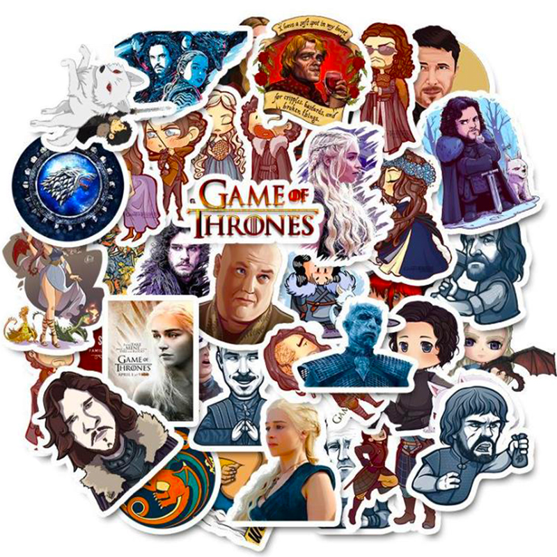 50PCS Not Repeating Game Of Thrones Stickers For Skateboard Fridge Phone Guitar Motorcycle Luggage Notebook Guitar Funny Sticker