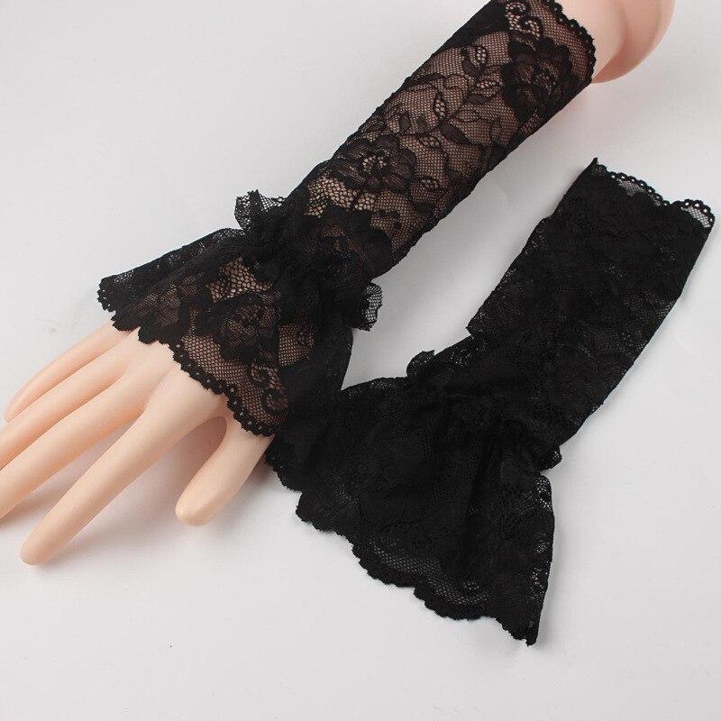1 çift kış sıcak dantel eldivenler siyah pamuk parmaksız uzun eldiven kadın moda bayanlar için isıtıcı kol kol aksesuarları