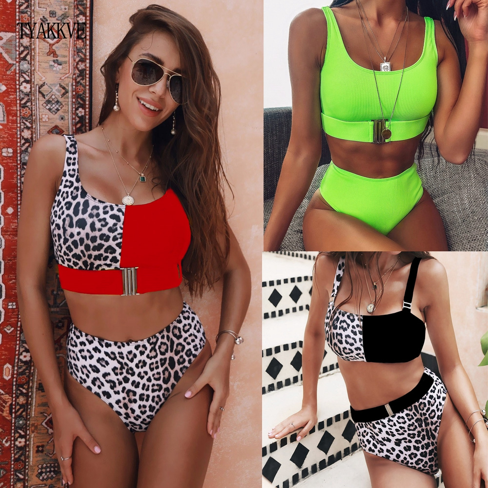 Sexy Leopard Bikini Set 2020 New High Waist Swimwear Women Swimsuit Neon Biquini Mujer Push Up Bathing Suits Beach Swim Tankini