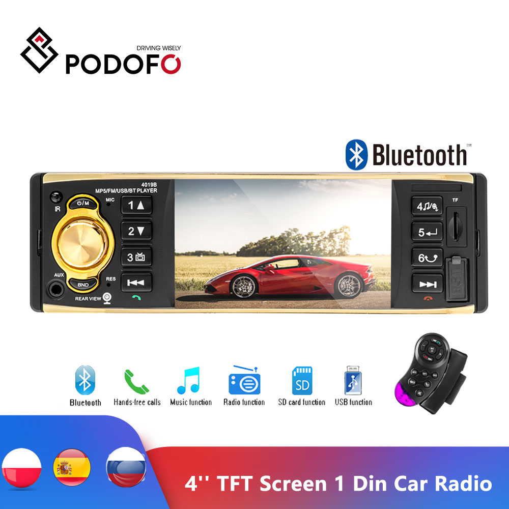 Podofo Universal 4'' TFT Screen 1 Din Car Radio Autoradio Video Stereo MP3 Car Audio Player With Rearview Camera Remote Control image
