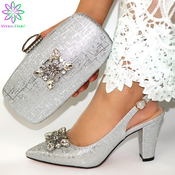 Nigerian Party silver Shoe and Bag Sets African Matching Shoes and Bags Italian Women High Quality African Party