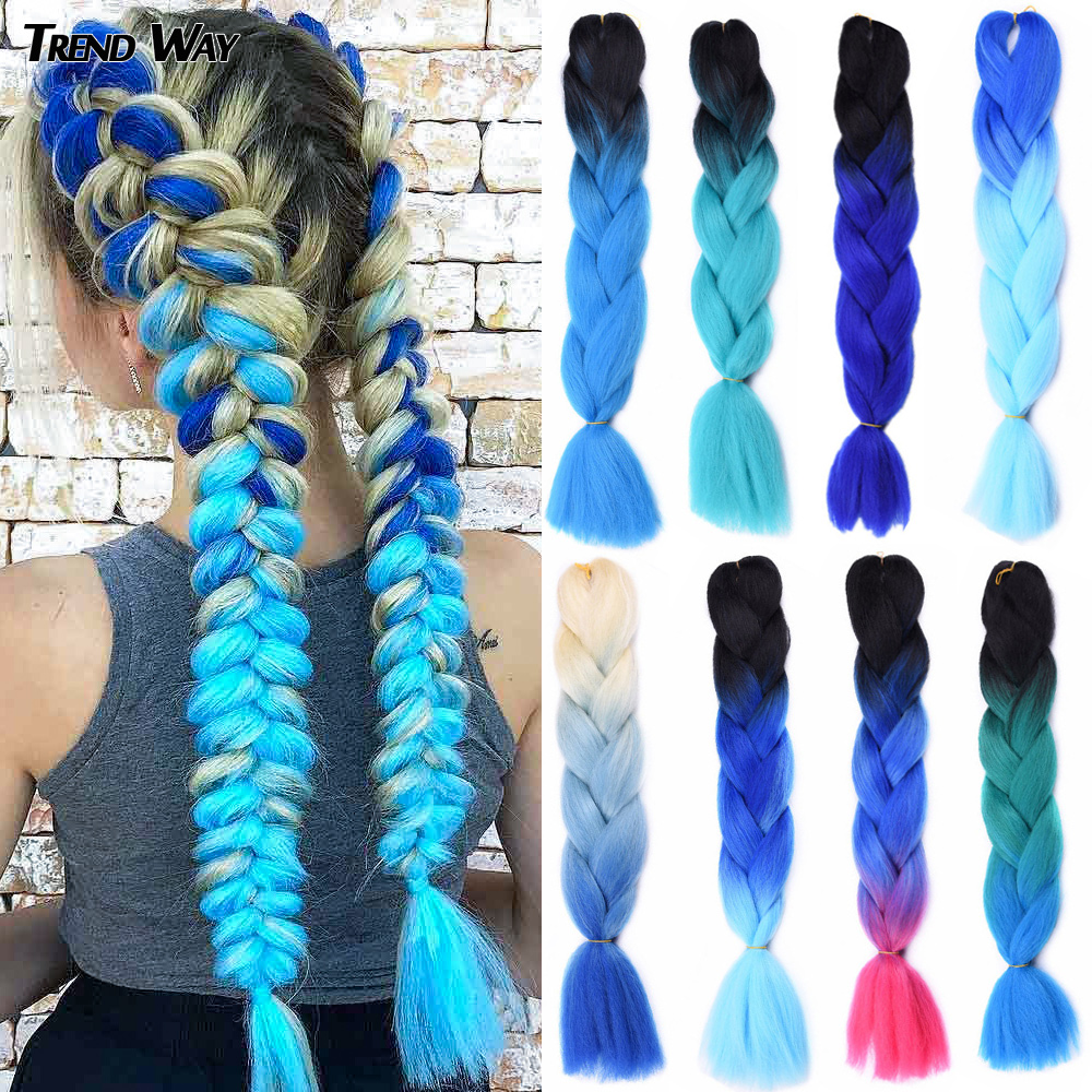 Trend Way 24Inch Synthetic  Hair Long Jumbo Braid Hair Heat Extensions Box Braids For Woman Pink Purple Yellow Green Hair