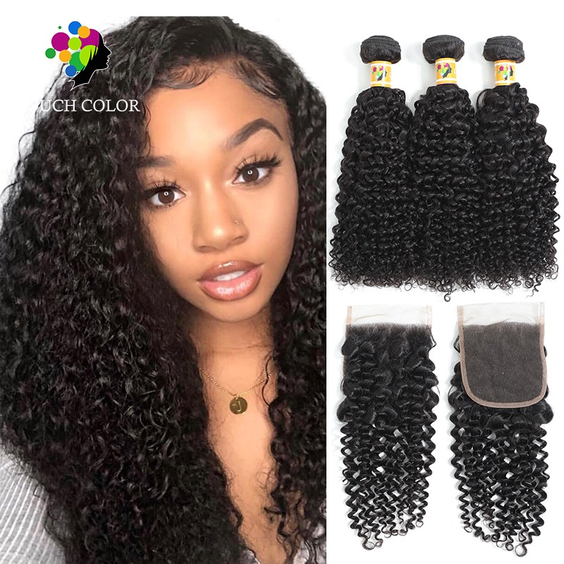 Peruvian Afro Kinky Curly Bundles With Closure 100% Human Hair Bundles With Closure Brazilian Hair Weave Bundles With Closure