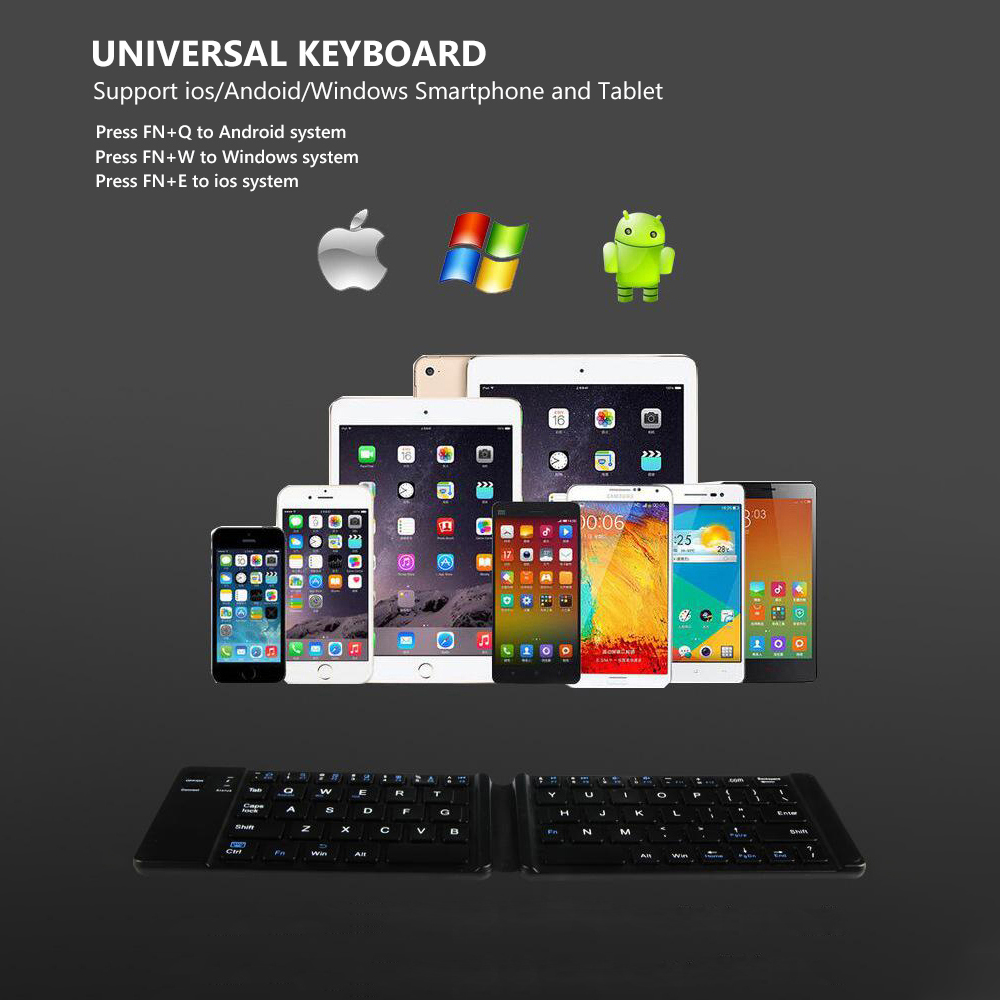 AVATTO Light Handy Russian English Bluetooth Folding Keyboard Foldable Wireless Keypad For IOS Android Windows ipad
