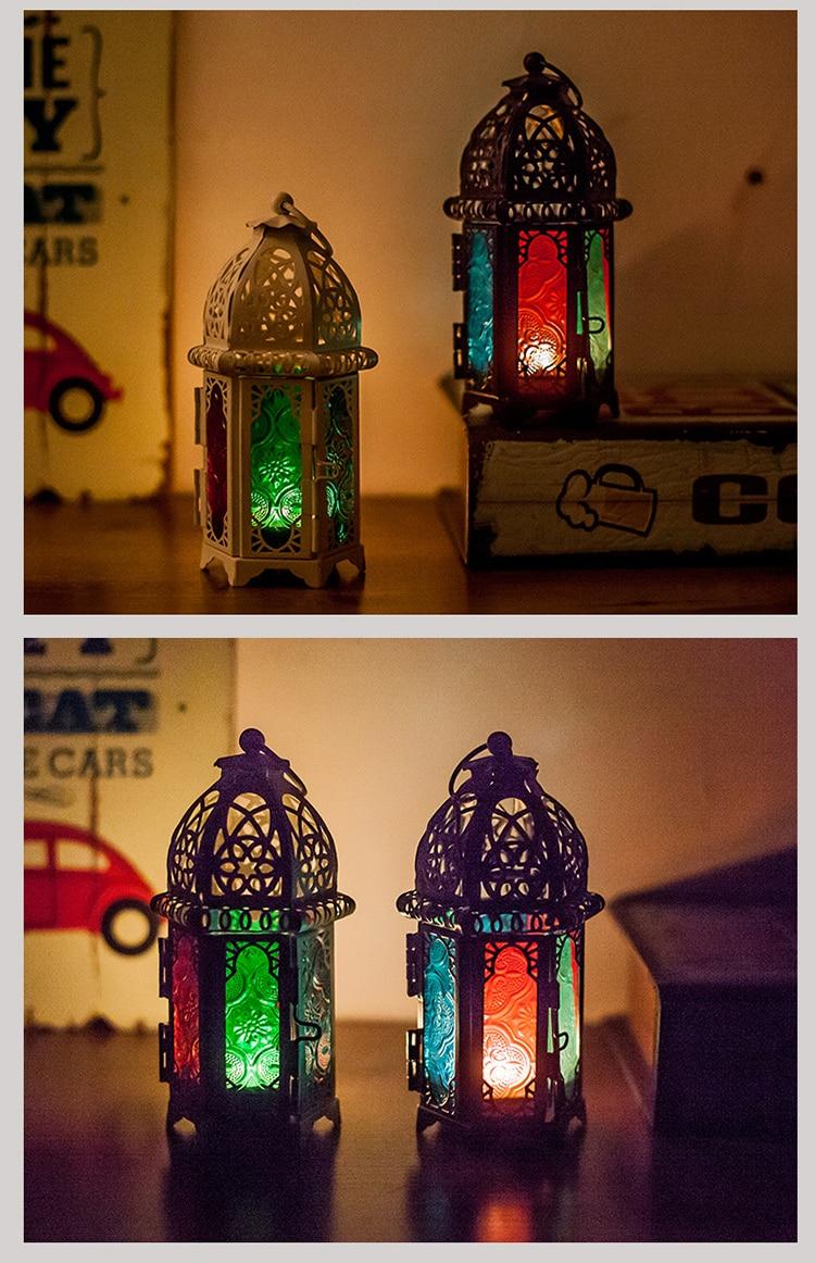 Oriental Moroccan Lantern Wind Light Garden Glass Vintage Table Lantern
