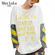 Tシャツ 最大ルルファッション韓国スタイルレディースパンク服レディース秋の刺繍デニム Tシャツヴィンテージパッチワーク女性