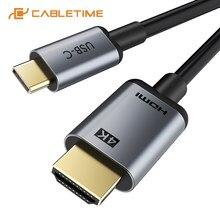 Cabletime tipo c para hdmi cabo 4k 30hz thunderbolt 3 adaptador usb c para huawei companheiro 30 xiaomi 10 oneplus 7 usb c adaptador c374