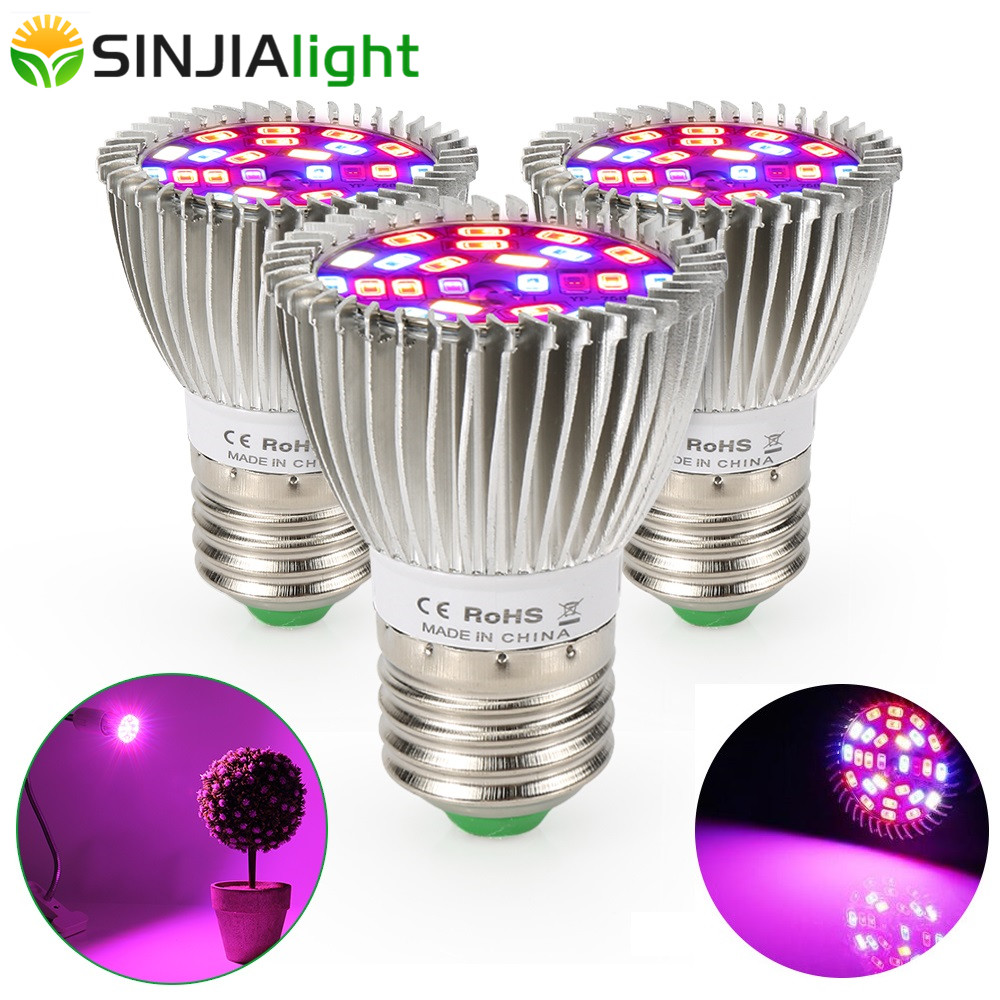 4pcs/lot 28W LED Grow Light Full Spectrum 28LEDs Plant Lamp Fitolampy LED Growing Bulb For Flowers Seeds Grow Box E27 E14 GU10