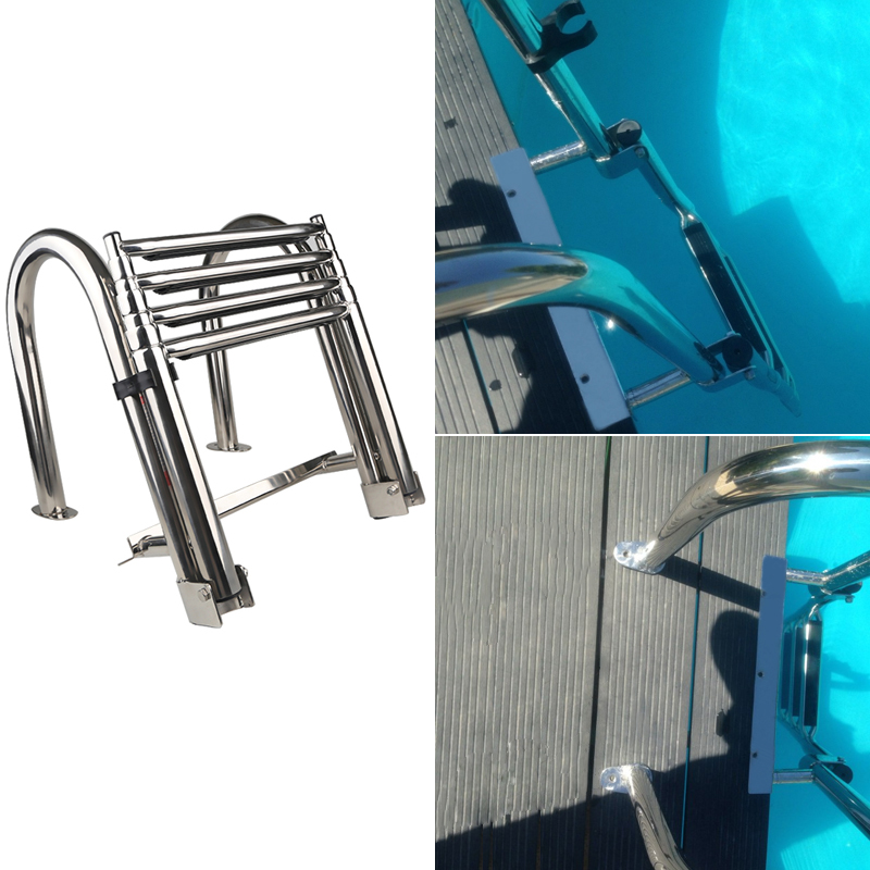 Stainless Steel 4 Steps Marine Boat Ladder Yacht Folding Swimming Board Ladder Stainless Steel