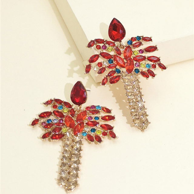 Pendientes grandes de cristal Vintage FASHIONSOOPS para mujer, accesorios de joyería de lujo