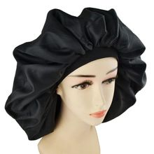 цена на Lady's Double rubber band night cap rubber band cap simulation silk hair cap shower hair cap black night cap